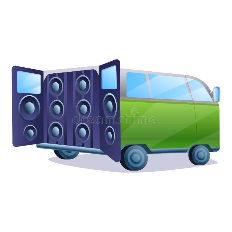 Στερεοφωνικό εικονίδιο συστημάτων μουσικής αυτοκινήτων, ύφος κινούμενων σχεδίων διανυσματική απεικόνιση