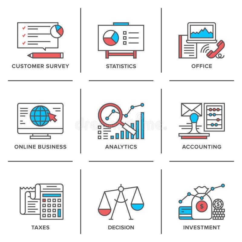Στερεότυπα εικονίδια γραμμών επιχειρήσεων και χρηματοδότησης καθορισμένα ελεύθερη απεικόνιση δικαιώματος