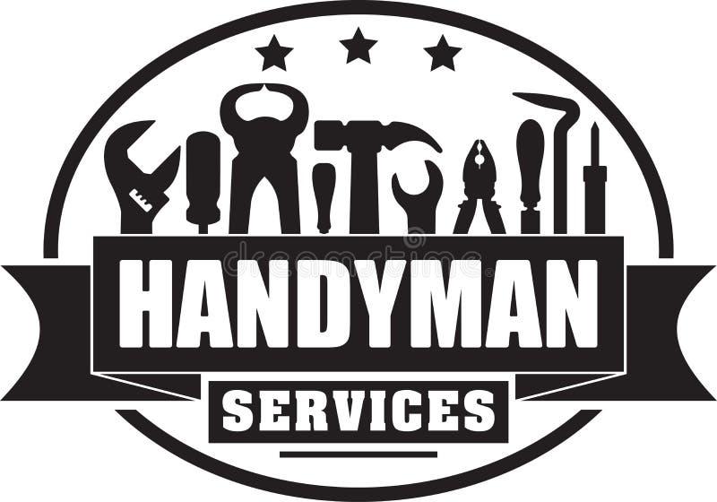 Στερεό γραμματόσημο gubber υπηρεσιών Handyman για το λογότυπό σας ή emb διανυσματική απεικόνιση