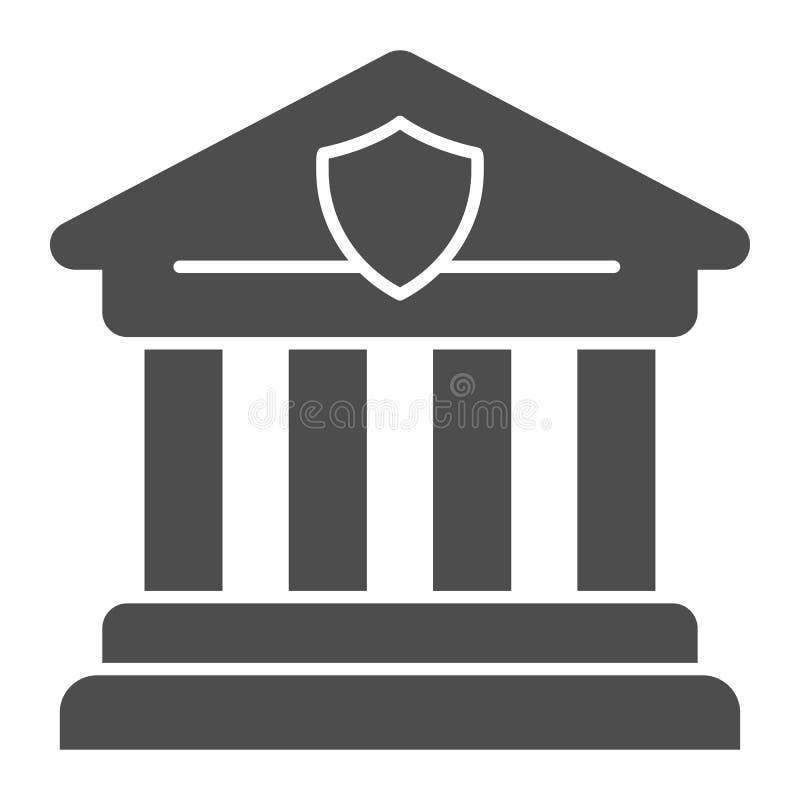 Στερεό εικονίδιο δικαστηρίων Ελληνική διανυσματική απεικόνιση αρχιτεκτονικής που απομονώνεται στο λευκό Σχέδιο ύφους τράπεζας gly ελεύθερη απεικόνιση δικαιώματος