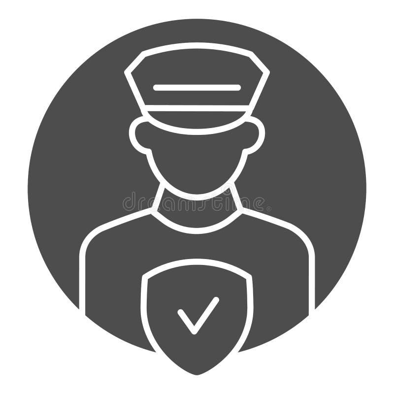 Στερεό εικονίδιο ελέγχου ανώτερων υπαλλήλων Pollice Αστυνομικός τη διανυσματική απεικόνιση ελέγχου που απομονώνεται με στο λευκό  απεικόνιση αποθεμάτων