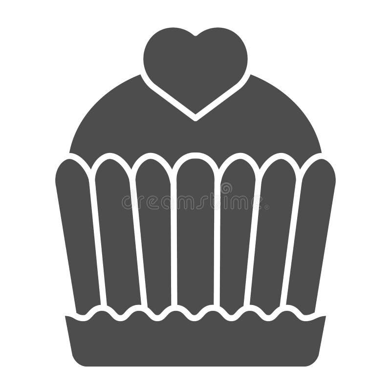 Στερεό εικονίδιο κέικ Cupcake απεικόνιση που απομονώνεται διανυσματική στο λευκό Εύγευστο σχέδιο ύφους glyph, που σχεδιάζεται για διανυσματική απεικόνιση