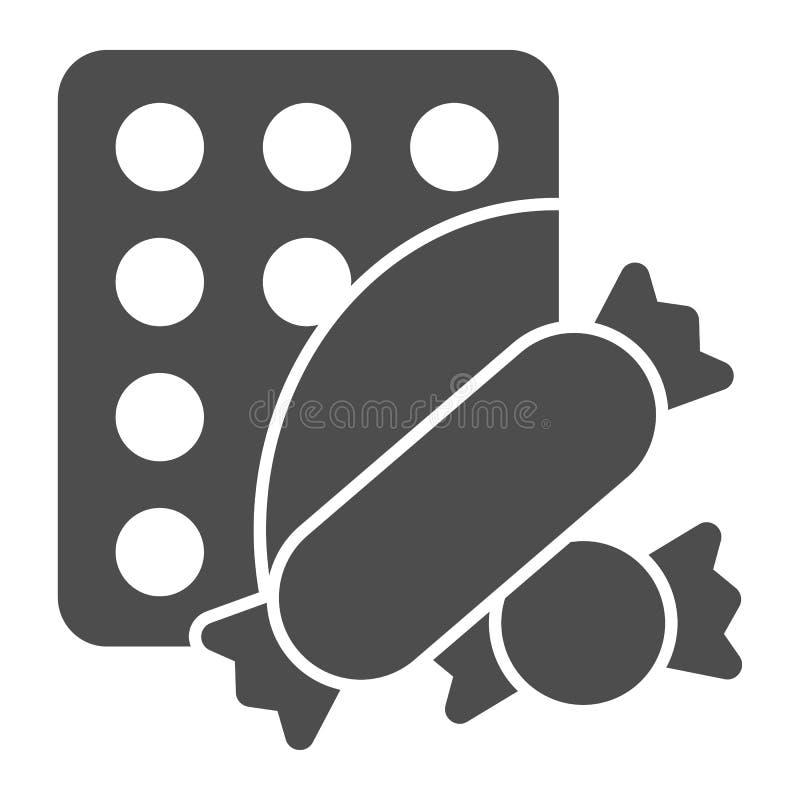 Στερεό εικονίδιο καραμελών Γλυκών απεικόνιση που απομονώνεται διανυσματική στο λευκό Σχέδιο ύφους Lollipop glyph, που σχεδιάζεται απεικόνιση αποθεμάτων