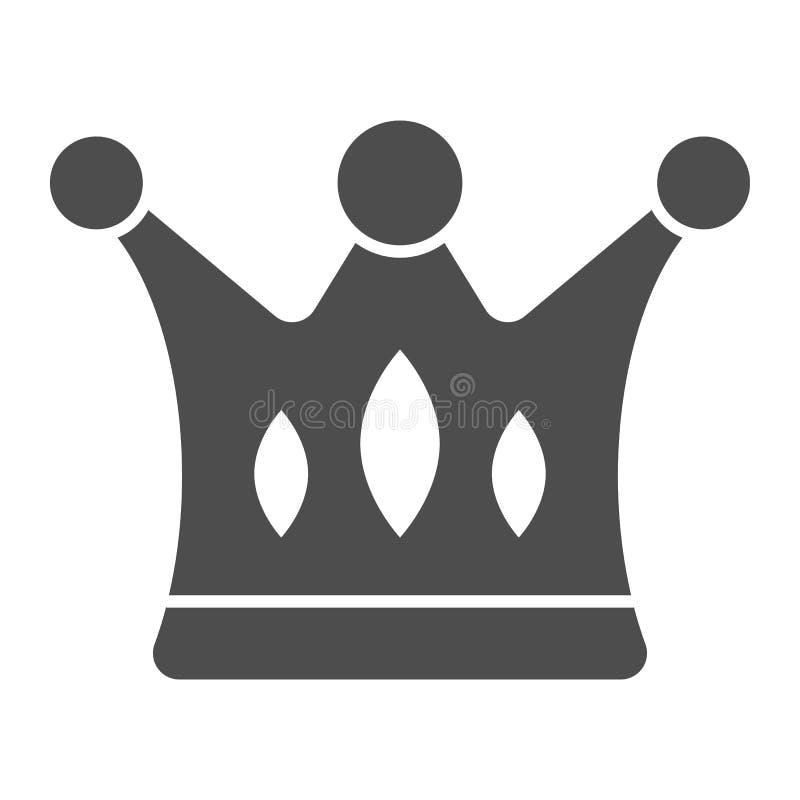 Στερεό εικονίδιο κορωνών Μεγαλοπρεπής διανυσματική απεικόνιση που απομονώνεται στο λευκό Σχέδιο ύφους δικαιώματος glyph, που σχεδ ελεύθερη απεικόνιση δικαιώματος