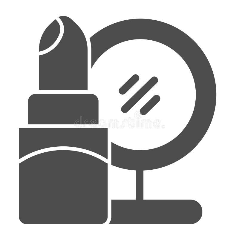 Στερεό εικονίδιο κραγιόν και καθρεφτών Καλλυντικών απεικόνιση που απομονώνεται διανυσματική στο λευκό Σχέδιο ύφους Makeup glyph,  απεικόνιση αποθεμάτων