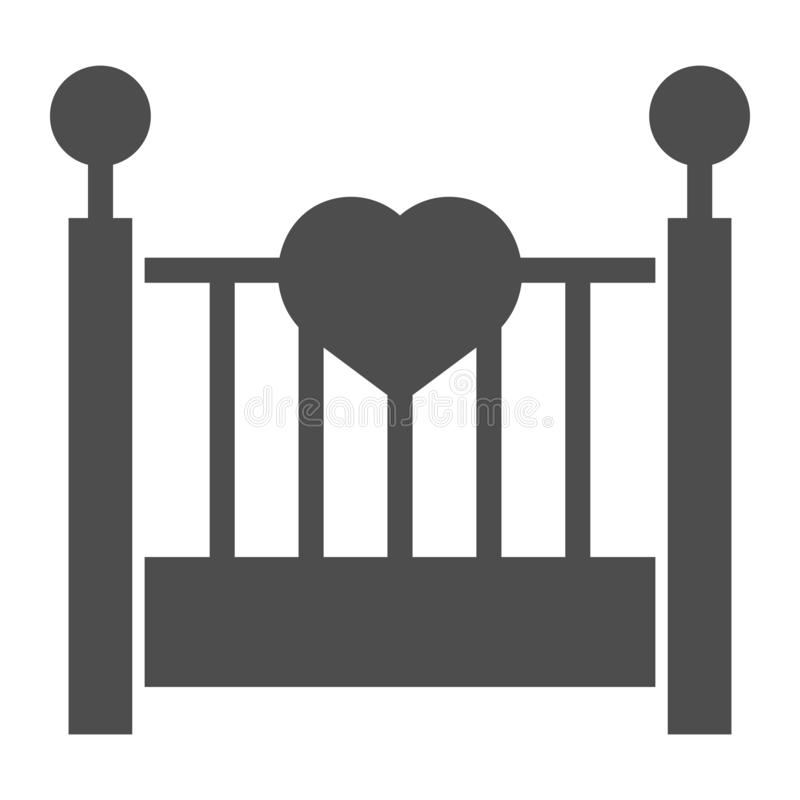 Στερεό εικονίδιο λίκνων μωρών Παιδιών κρεβατιών απεικόνιση που απομονώνεται διανυσματική στο λευκό Σχέδιο ύφους ύπνου glyph, που  ελεύθερη απεικόνιση δικαιώματος