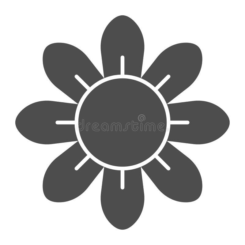 Στερεό εικονίδιο λουλουδιών Floral διανυσματική απεικόνιση που απομονώνεται στο λευκό Σχέδιο ύφους ανθών glyph, που σχεδιάζεται γ διανυσματική απεικόνιση