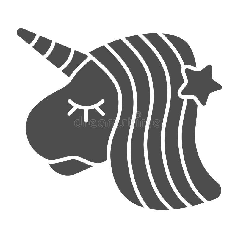 Στερεό εικονίδιο μονοκέρων Ζωική διανυσματική απεικόνιση φαντασίας που απομονώνεται στο λευκό Σχέδιο ύφους αλόγων glyph, που σχεδ διανυσματική απεικόνιση
