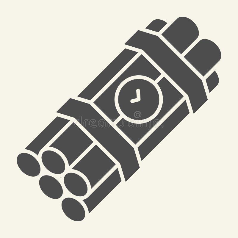 Στερεό εικονίδιο ορολογιακών βομβών Δυναμίτη απεικόνιση που απομονώνεται διανυσματική στο λευκό Σχέδιο ύφους εκπυρσοκροτήρων glyp διανυσματική απεικόνιση
