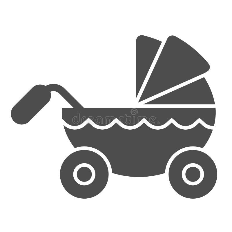 Στερεό εικονίδιο περιπατητών Παιδιών μεταφορών απεικόνιση που απομονώνεται διανυσματική στο λευκό Σχέδιο ύφους καροτσακιών glyph, ελεύθερη απεικόνιση δικαιώματος