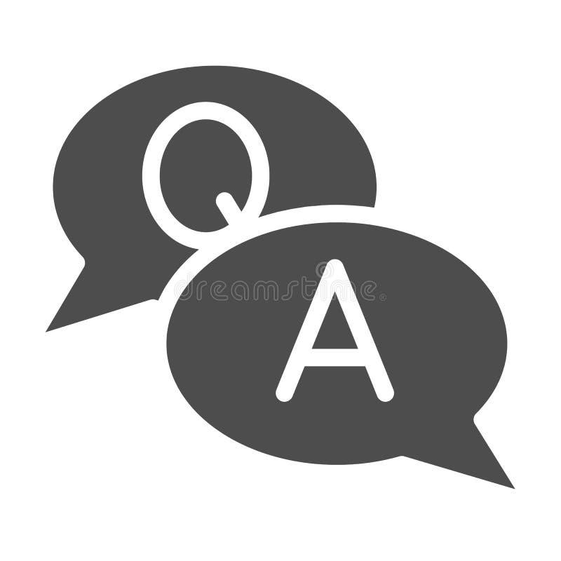 Στερεό εικονίδιο συνομιλίας quesation και διανυσματική απεικόνιση απάντησης που απομονώνονται στο λευκό Το σχέδιο ύφους Faq glyph διανυσματική απεικόνιση