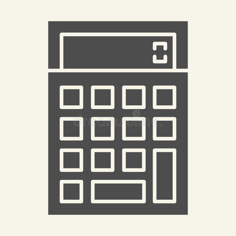 Στερεό εικονίδιο υπολογιστών Λογιστικής απεικόνιση που απομονώνεται διανυσματική στο λευκό Υπολογίστε glyph το σχέδιο ύφους, που  απεικόνιση αποθεμάτων