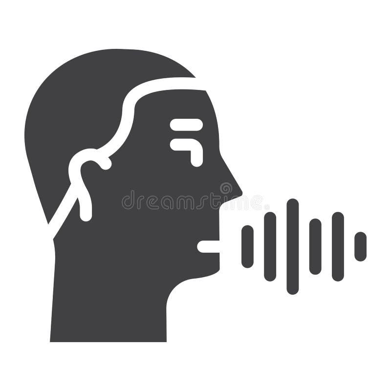 Στερεό εικονίδιο λεκτικής αναγνώρισης, έλεγχος φωνής απεικόνιση αποθεμάτων