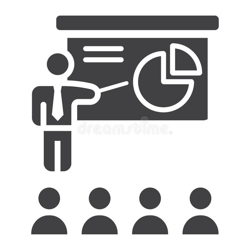 Στερεό εικονίδιο παρουσίασης κατάρτισης, επιχείρηση απεικόνιση αποθεμάτων