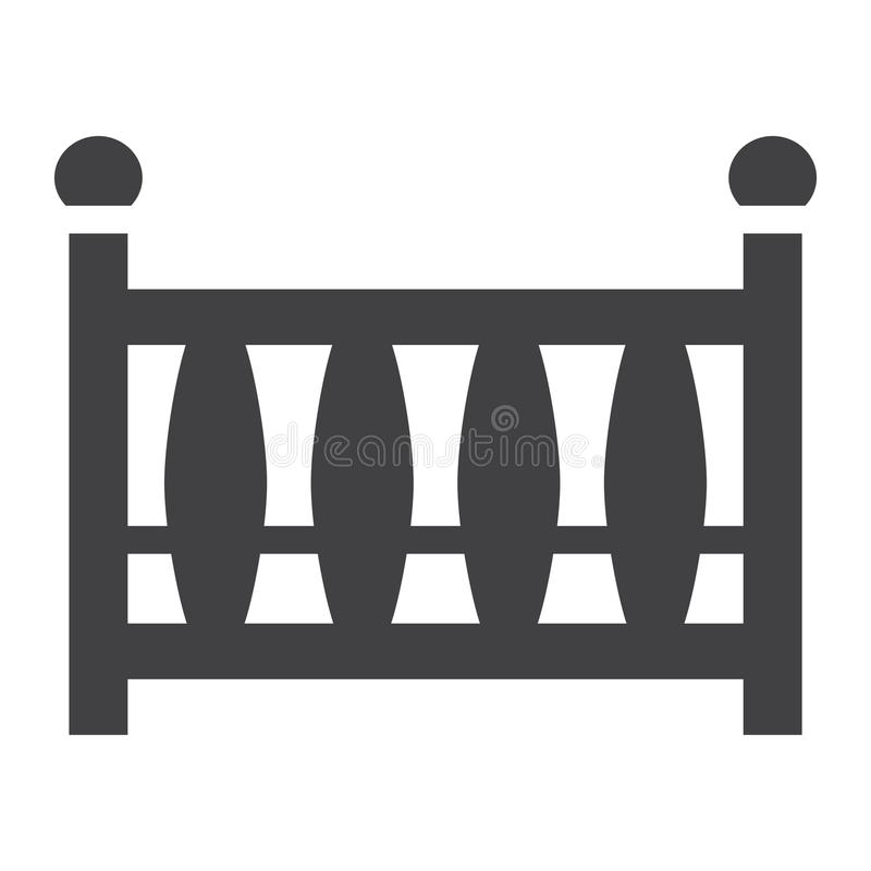 Στερεό εικονίδιο παχνιών μωρών, κούνια μωρών και κρεβάτι διανυσματική απεικόνιση