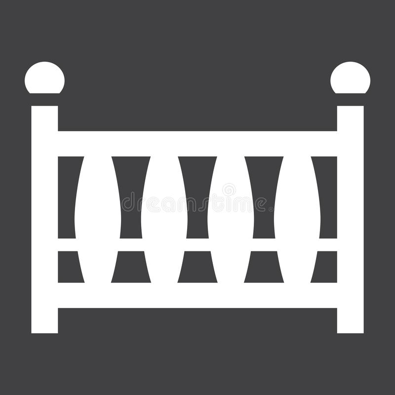 Στερεό εικονίδιο παχνιών μωρών, κούνια μωρών και κρεβάτι απεικόνιση αποθεμάτων