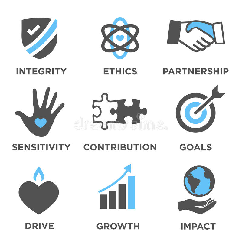 Στερεό σύνολο εικονιδίων κοινωνικής ευθύνης διανυσματική απεικόνιση