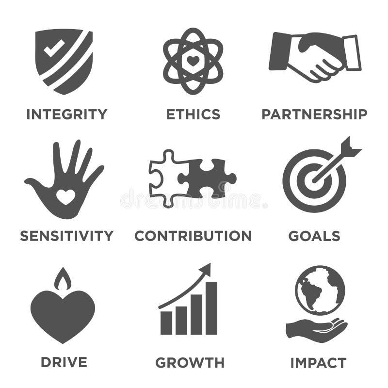 Στερεό σύνολο εικονιδίων κοινωνικής ευθύνης απεικόνιση αποθεμάτων