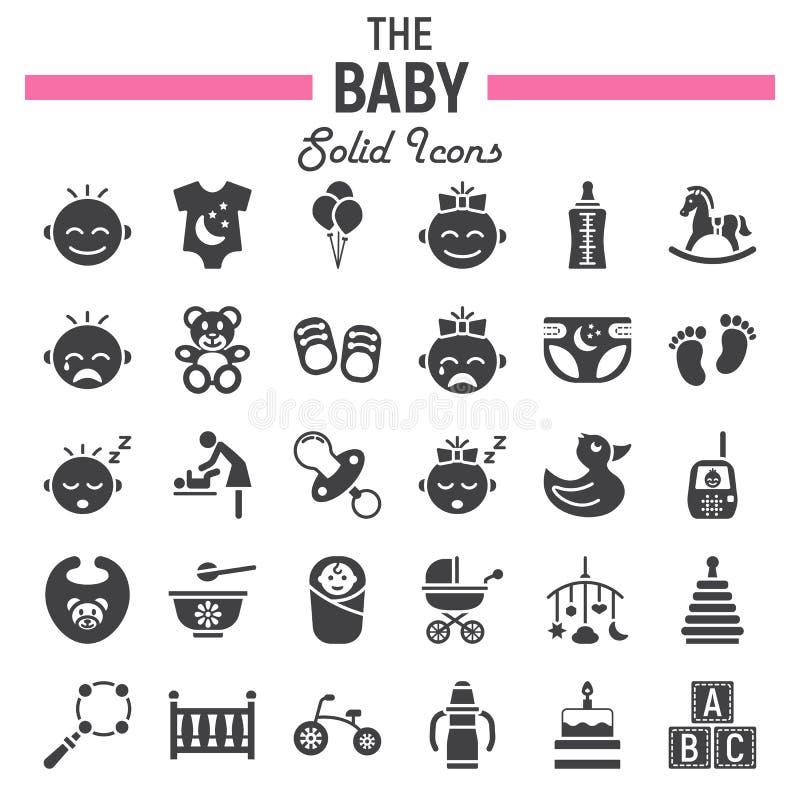 Στερεό σύνολο εικονιδίων μωρών, συλλογή συμβόλων παιδιών ελεύθερη απεικόνιση δικαιώματος