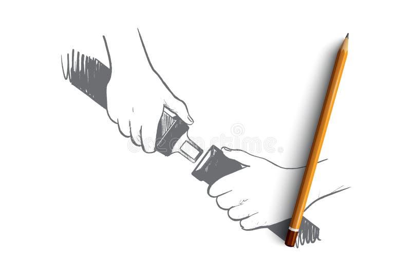 Στερεώστε την έννοια ζωνών ασφαλείας Συρμένο χέρι απομονωμένο διάνυσμα απεικόνιση αποθεμάτων
