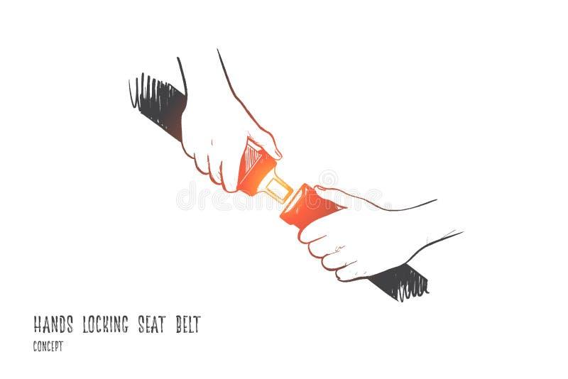 Στερεώστε την έννοια ζωνών ασφαλείας Συρμένο χέρι απομονωμένο διάνυσμα διανυσματική απεικόνιση