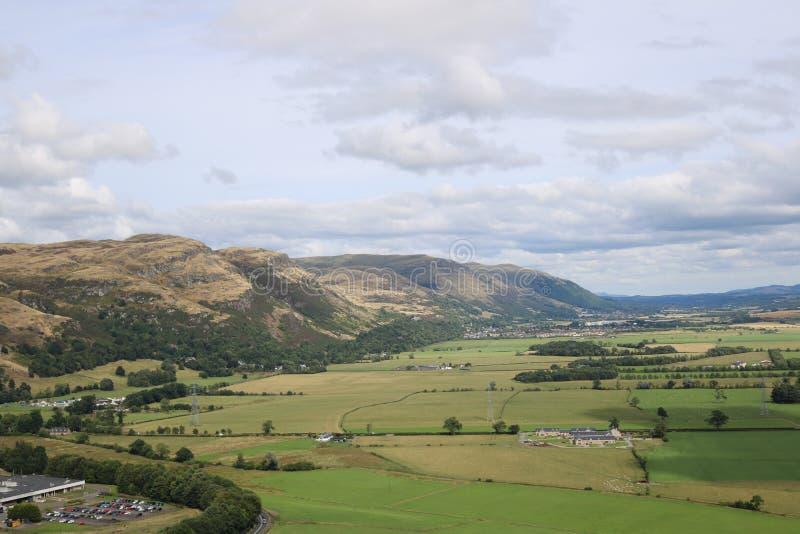 Στερλίνα, Σκωτία από το μνημείο του William Wallace στοκ φωτογραφίες