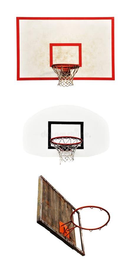 Στεφάνες καλαθοσφαίρισης με το κλουβί που απομονώνεται στο άσπρο υπόβαθρο στοκ εικόνες