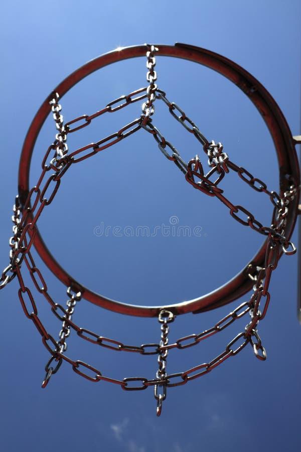 Στεφάνη καλαθοσφαίρισης σε έναν μπλε ουρανό στοκ εικόνα