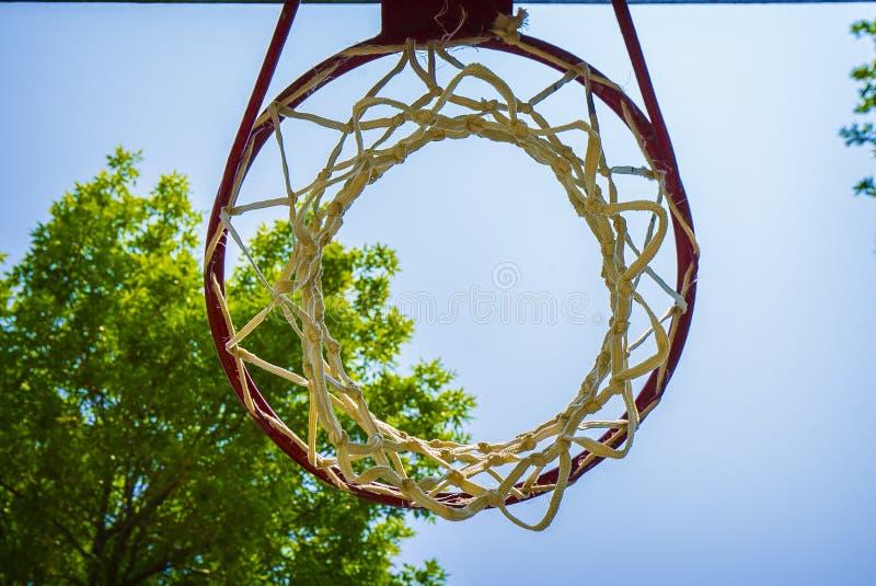 Στεφάνη καλαθοσφαίρισης από κάτω από να ανατρέξει στο φωτεινό μπλε ουρανό στοκ εικόνες