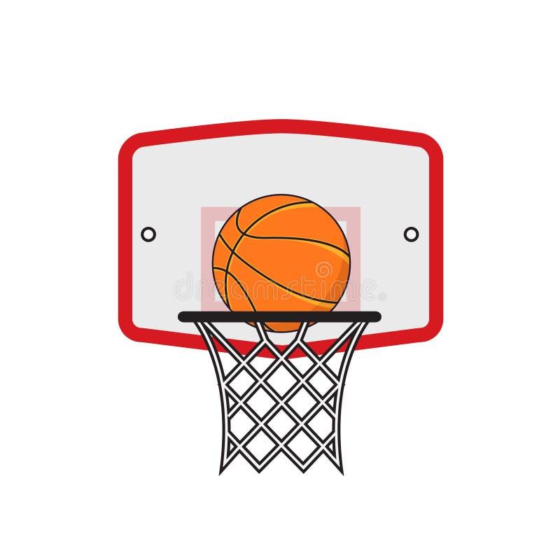 Στεφάνη καλαθοσφαίρισης και πορτοκαλιά σφαίρα απεικόνιση αποθεμάτων