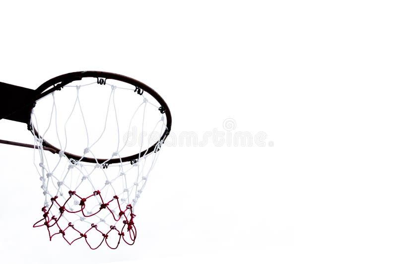 Στεφάνη καλαθοσφαίρισης που αντιμετωπίζεται από κάτω από στο λευκό στοκ φωτογραφία με δικαίωμα ελεύθερης χρήσης