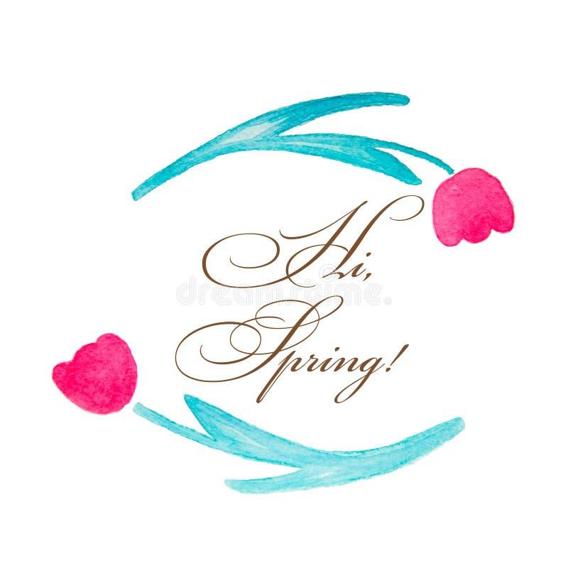 Στεφάνι άνοιξη Floral στεφάνι του λουλουδιού τουλιπών που απομονώνεται στο άσπρο υπόβαθρο με τους χαιρετισμούς στοκ φωτογραφίες