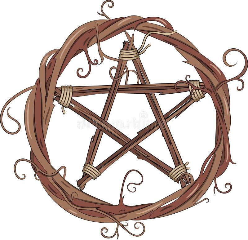 Στεφάνι αμπέλων και pentagram απεικόνιση αποθεμάτων