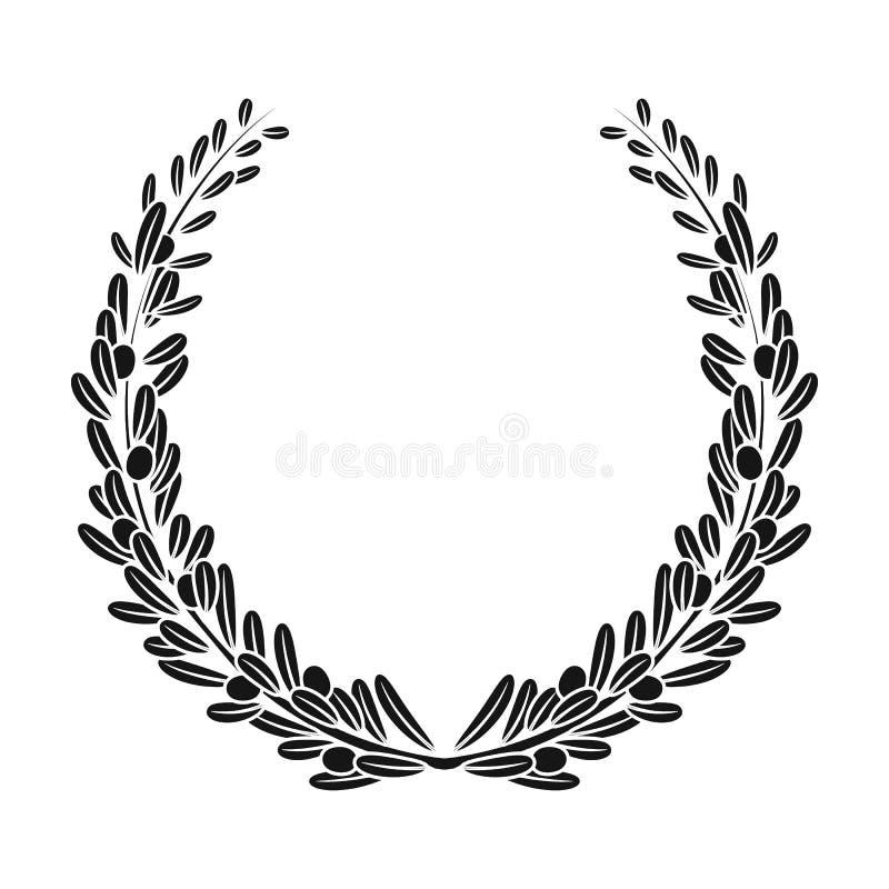 Στεφάνι από τα κλαδί ελιάς Ενιαίο εικονίδιο ελιών στο μαύρο Ιστό απεικόνισης αποθεμάτων συμβόλων ύφους διανυσματικό ελεύθερη απεικόνιση δικαιώματος