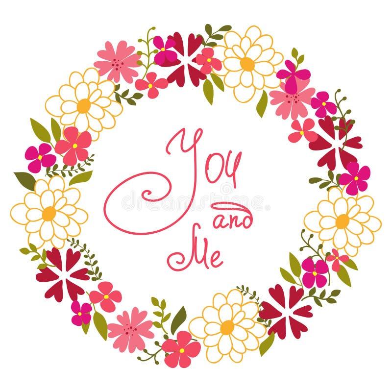 Στεφάνι από τα λουλούδια και τα χορτάρια άνοιξη. διανυσματική απεικόνιση