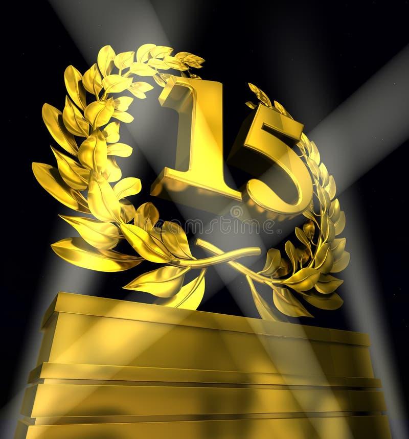 Στεφάνι δαφνών με τον αριθμό 15 ελεύθερη απεικόνιση δικαιώματος