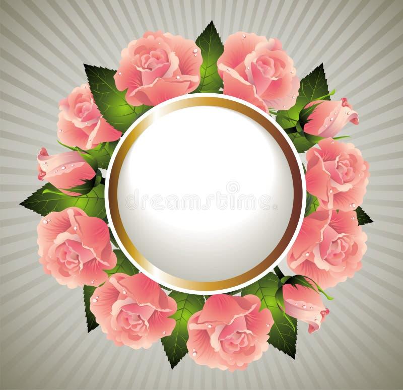 στεφάνι βαλεντίνων τριαντά&ph διανυσματική απεικόνιση