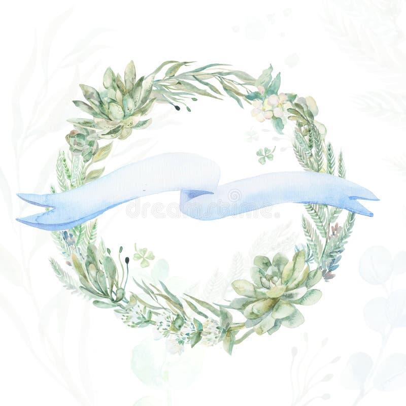 Στεφάνι γαμήλιας πρόσκλησης απεικόνιση αποθεμάτων