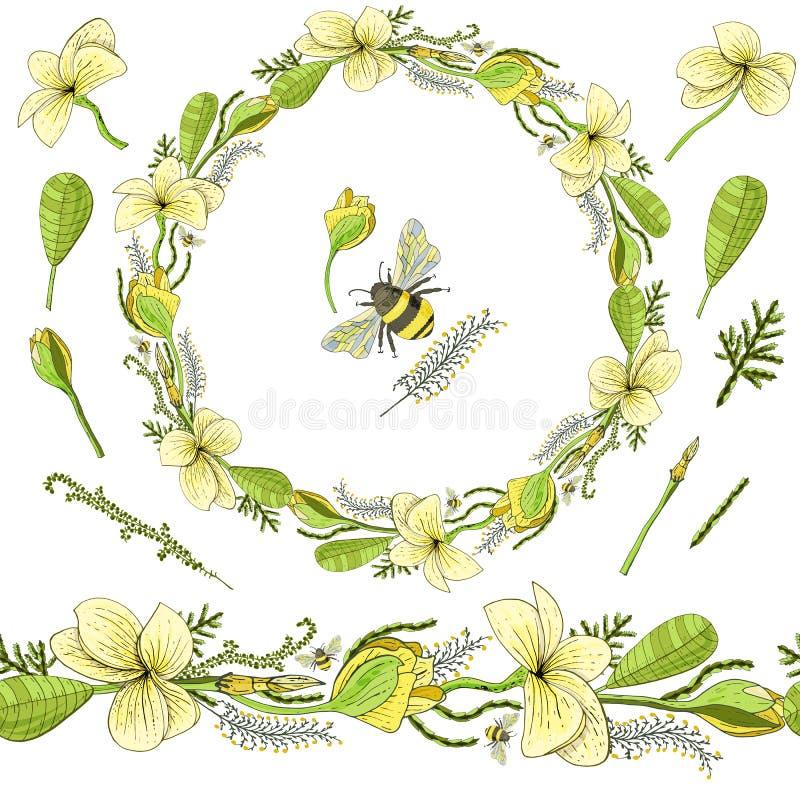 Στεφάνι για το χαιρετισμό με τα λουλούδια Plumeria και τα floral στοιχεία και bumblebee ελεύθερη απεικόνιση δικαιώματος