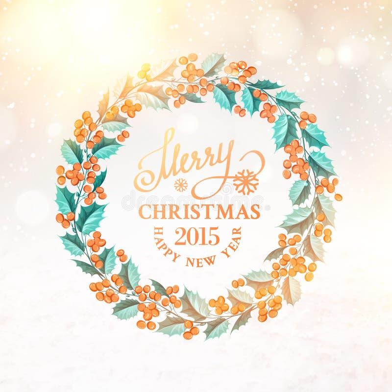 Στεφάνι γκι Χριστουγέννων διανυσματική απεικόνιση