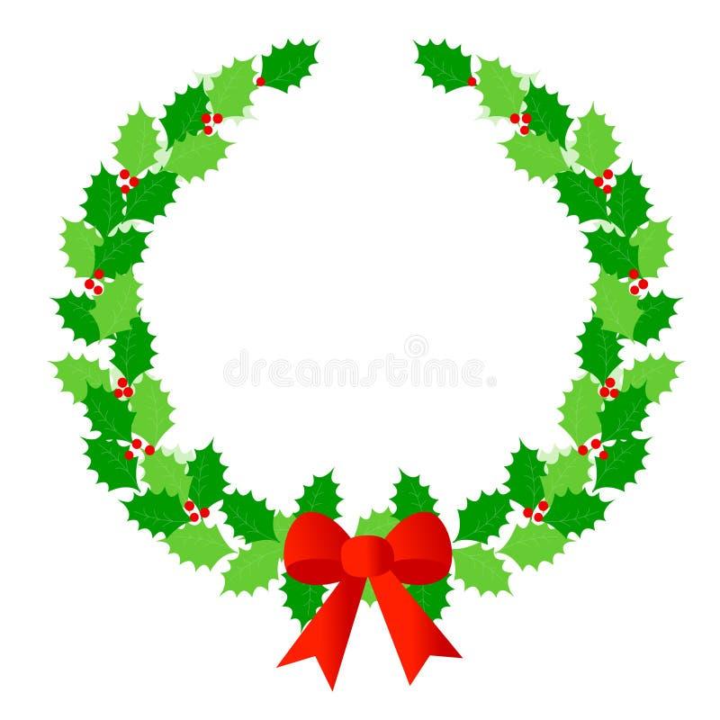 στεφάνι δαφνών Χριστουγένν& διανυσματική απεικόνιση