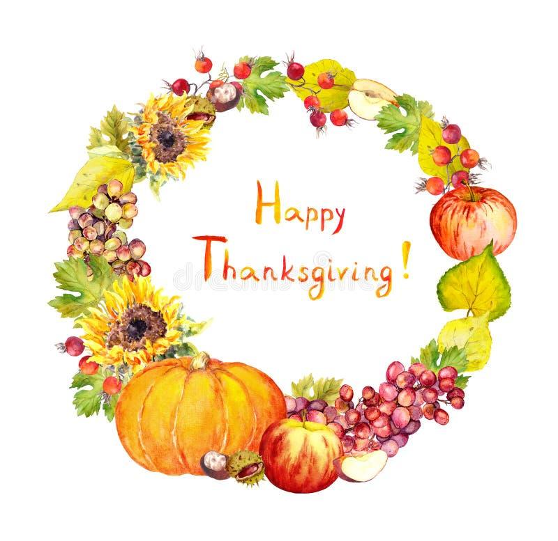 Στεφάνι ημέρας των ευχαριστιών Φρούτα, λαχανικά - κολοκύθα, μήλα, σταφύλι, φύλλα watercolor στοκ φωτογραφίες