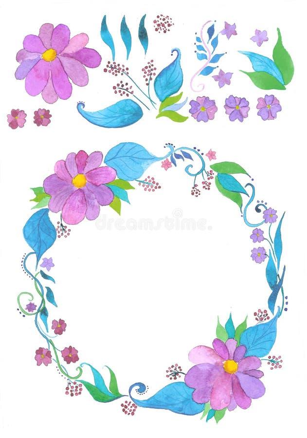 Στεφάνι και λουλούδια watercolor λουλουδιών καθορισμένα, χέρι που σύρεται στοκ εικόνες με δικαίωμα ελεύθερης χρήσης