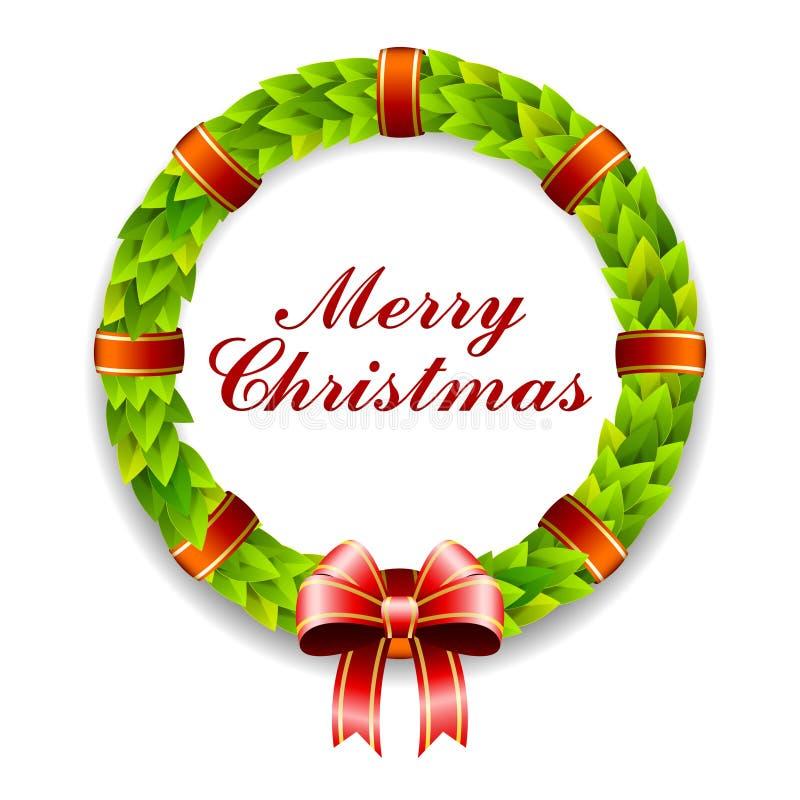 Στεφάνι Καλών Χριστουγέννων διανυσματική απεικόνιση