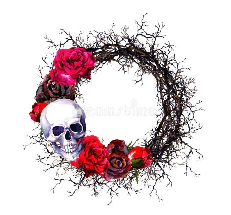 Στεφάνι - κρανία, κόκκινα τριαντάφυλλα, κλάδοι Σύνορα αποκριών Watercolor grunge απεικόνιση αποθεμάτων