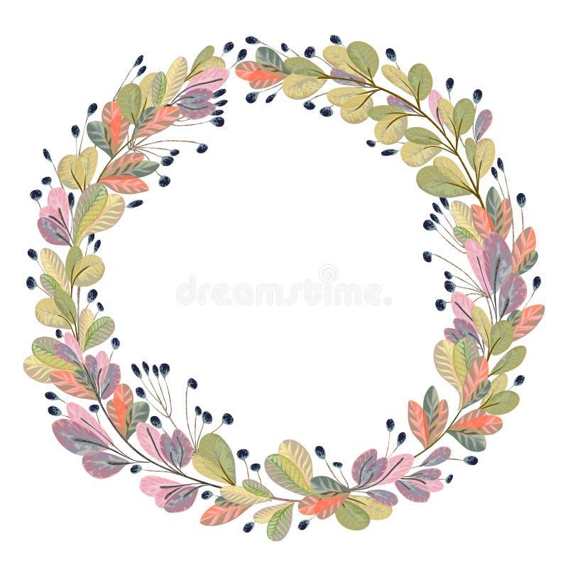 Στεφάνι με τα φυτά και τα φύλλα φαντασίας Διακοσμητικά floral στοιχεία σχεδίου για την πρόσκληση, το γάμο ή τις ευχετήριες κάρτες διανυσματική απεικόνιση