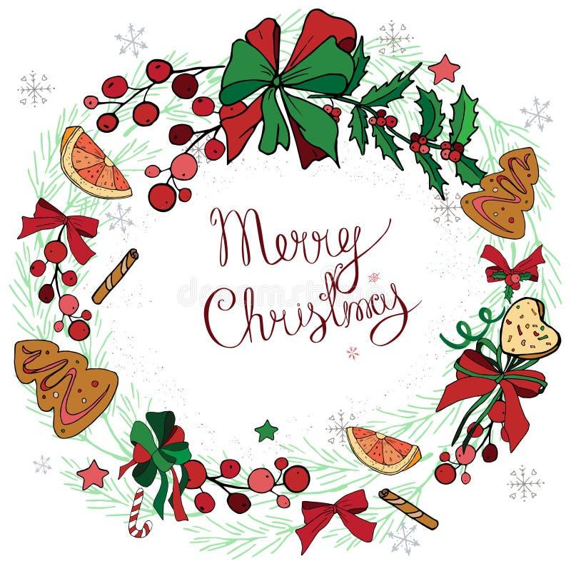 Στεφάνι με τις διακοσμήσεις Χριστουγέννων και τα γλυκά, μελόψωμο στοκ φωτογραφίες με δικαίωμα ελεύθερης χρήσης