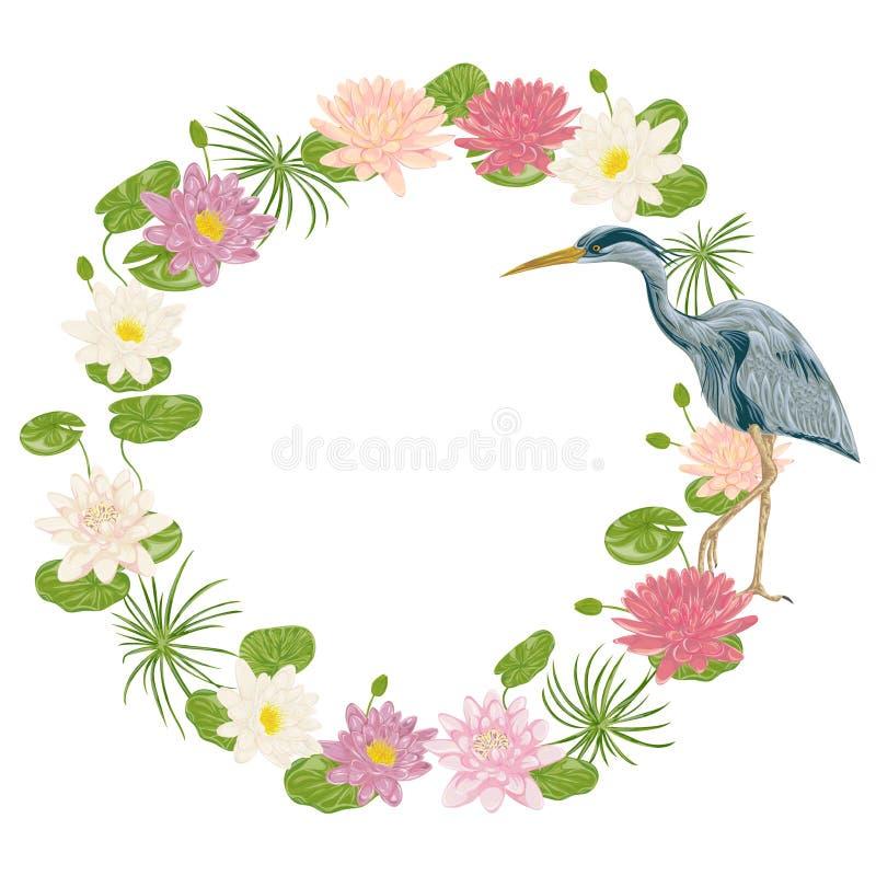 Στεφάνι με το πουλί γερανών και τον κρίνο νερού μοτίβο Ασιάτης ελεύθερη απεικόνιση δικαιώματος