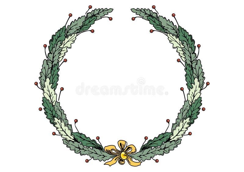 Στεφάνι πλαισίων Χριστουγέννων με τα πράσινα φύλλα κορδελλών και τόξων διανυσματική απεικόνιση
