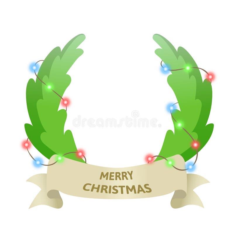 Στεφάνι πορτών διακοπών Χριστουγέννων με τη γιρλάντα Καλύτερες ευχές Ζωηρόχρωμη επίπεδη διανυσματική απεικόνιση η ανασκόπηση απομ ελεύθερη απεικόνιση δικαιώματος